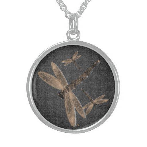 Stone Dragonflies (black) Necklace