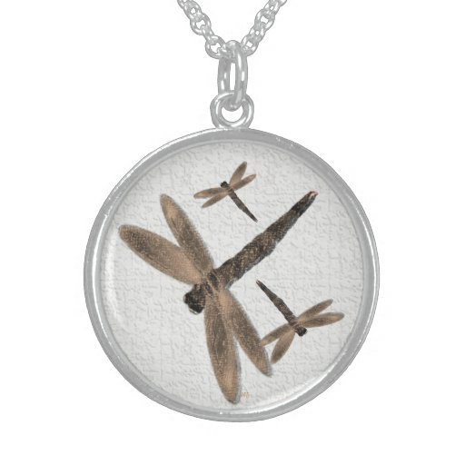 Stone Dragonflies (white) Necklace