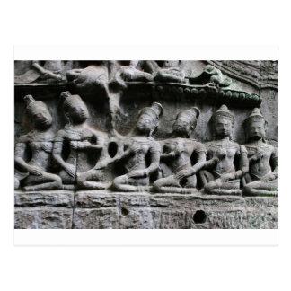 stone figures at ta prohm postcard