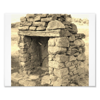 Stone Fire place remains standing Photographic Print