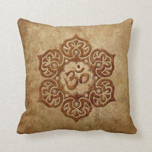 Stone Floral Aum Design Throw Pillows