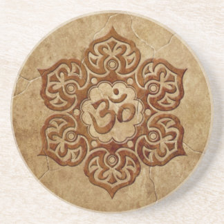 Stone Floral Aum Design Drink Coasters