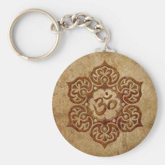 Stone Floral Aum Design Key Ring