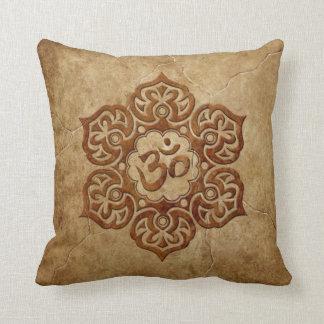 Stone Floral Aum Design Throw Pillow
