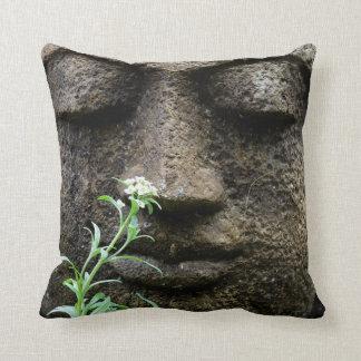 Stone garden statue with flower throw pillow