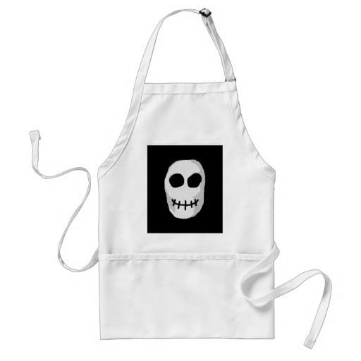 Stone Grey and Black Skull. Primitive Style. Aprons
