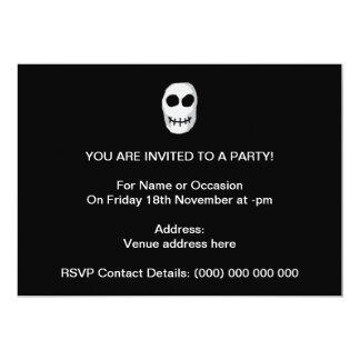 Stone Grey and Black Skull. Primitive Style. 5x7 Paper Invitation Card