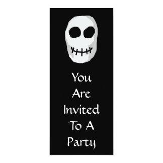 Stone Grey and Black Skull. Primitive Style. 10 Cm X 24 Cm Invitation Card