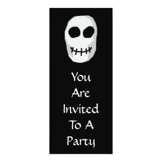 "Stone Grey and Black Skull. Primitive Style. 4"" X 9.25"" Invitation Card"