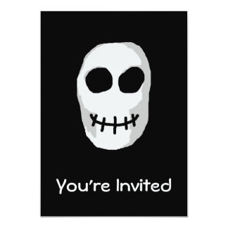 "Stone Grey and Black Skull. Primitive Style. 5"" X 7"" Invitation Card"
