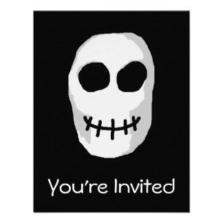 Stone Grey and Black Skull Primitive Style Personalized Invites