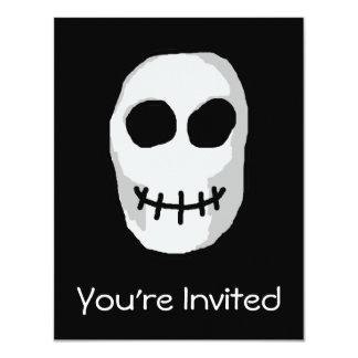 Stone Grey and Black Skull. Primitive Style. 11 Cm X 14 Cm Invitation Card