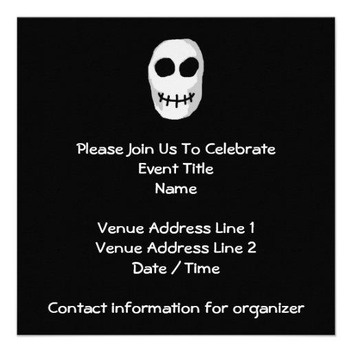 Stone Grey and Black Skull. Primitive Style. Custom Invites
