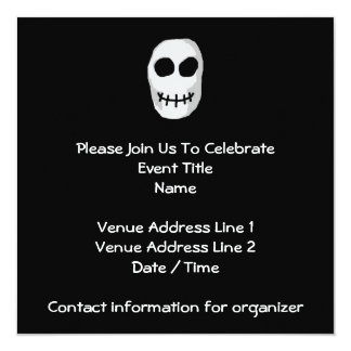 "Stone Grey and Black Skull. Primitive Style. 5.25"" Square Invitation Card"