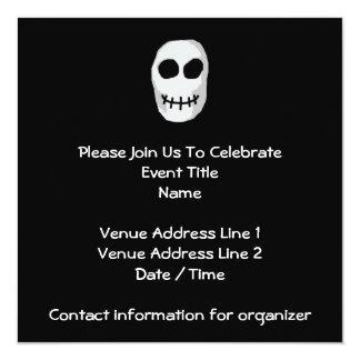 Stone Grey and Black Skull. Primitive Style. 13 Cm X 13 Cm Square Invitation Card