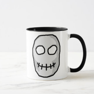 Stone Grey and Black Skull. Primitive Style. Mug