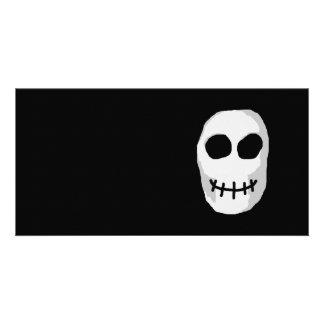 Stone Grey and Black Skull. Primitive Style. Photo Card