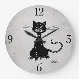 Stone Grey Ragged Evil Black Cat Large Clock