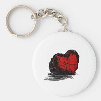 Stone Heart Basic Round Button Key Ring