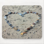 Stone heart in sand mouse pad