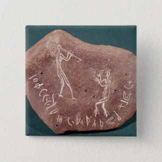 Stone inscribed with a dancer 15 cm square badge