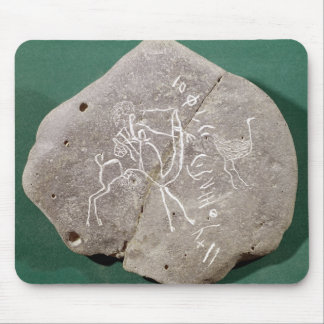 Stone inscribed with a hunter in the desert mouse mat