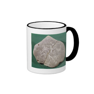 Stone inscribed with a hunter in the desert ringer coffee mug