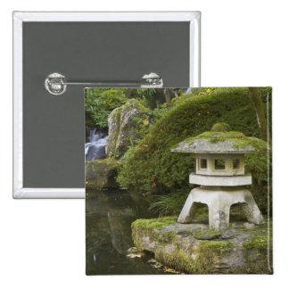 Stone lantern and Heavenly Falls 15 Cm Square Badge