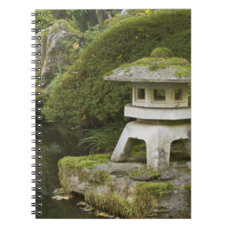 Stone lantern and Heavenly Falls Spiral Note Book