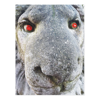 Stone Lion with Red Eyes Funny Photo Postcards