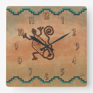 Stone Lizard Square Wall Clock