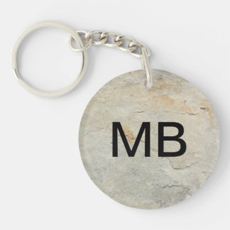 Stone Look Men's Monogram Keychain