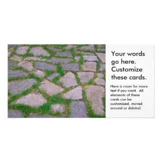 Stone mosaic patio stones pretty natural pattern customised photo card