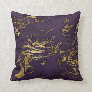 Stone Plum Purple Earth Tones Gold Marble Cushion
