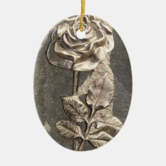 Stone Rose Ceramic Oval Decoration