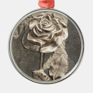 Stone Rose Silver-Colored Round Decoration