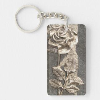 Stone Rose Single-Sided Rectangular Acrylic Key Ring