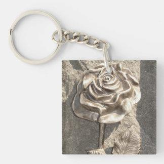 Stone Rose Single-Sided Square Acrylic Key Ring