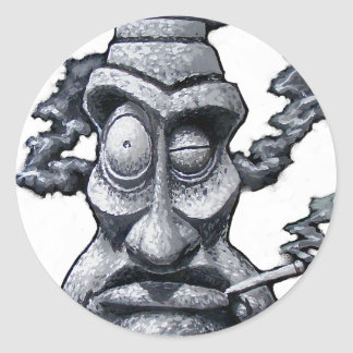 Stone Smoker Tiki Man Classic Round Sticker