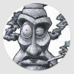 Stone Smoker Tiki Man Round Sticker