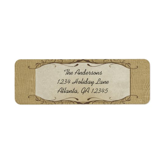 Stone Swirled on Wood Grain Return Address Label