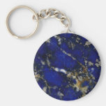 Stone texture: Lapis lazuli Basic Round Button Key Ring