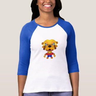 Stone the Lion Dog Ladies 3 4 Sleeve Raglan Wh Bl T Shirt