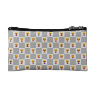 Stone the Lion Dog Silver Tile Small Cosmetic Bag