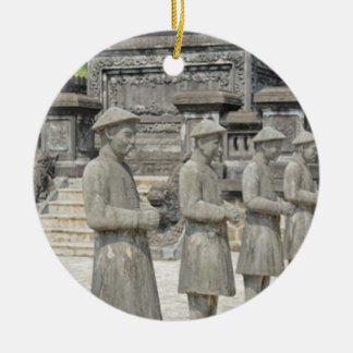 Stone Tomb Statues Round Ceramic Decoration