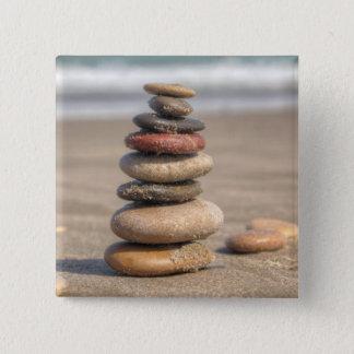 Stone Tower On Beach 15 Cm Square Badge