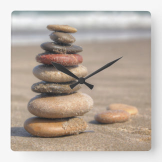 Stone Tower On Beach Wallclocks