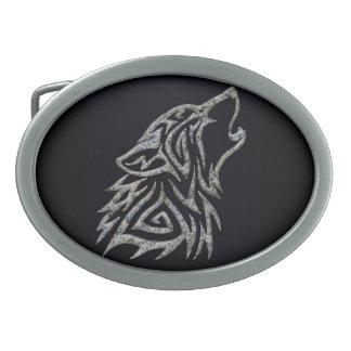 Stone tribal wolf belt buckle