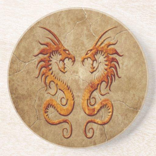 Stone Twin Dragons Drink Coaster
