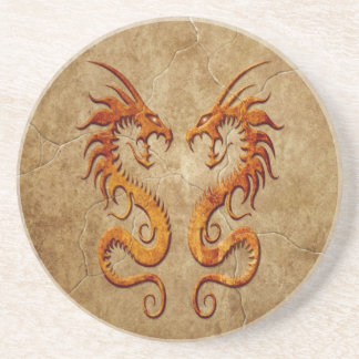 Stone Twin Dragons Drink Coasters
